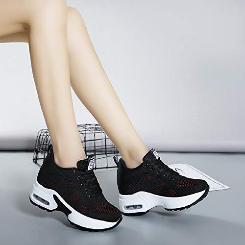 Negro Rojo Mujer Altas Aonegold De Para Tacón Cuña Zapatillas Deporte 8cm xZOw6