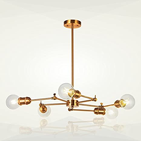 amazon com 5 light sputnik chandelier lighting vinluz brushed brass rh amazon com