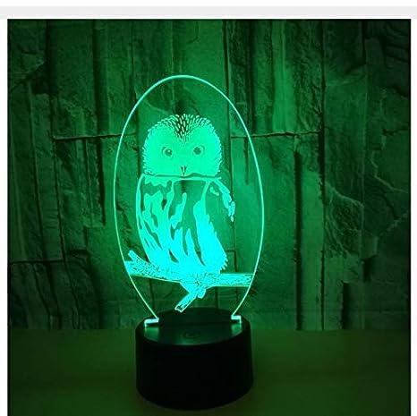 Owl Color 3D Pequeñas lámparas de mesa táctiles remotas para ...