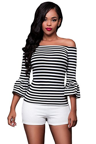 O&W Women Black White Stripes Off-the-shoulder Top S