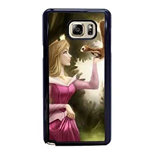 Wunatin Hard Case ,Samsung Galaxy Note 5 Cell Phone Case Black Disney Sleeping Beauty Aurora [with Free Tempered Glass Screen Protector] BA-9894333