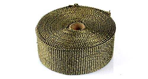 2X 33FT Titanium Thermal Motorcycle Exhaust Heat Pipe Resistant Insulation Wrap Fireproof Cloth Roll with 8pcs Stainless Ties Black