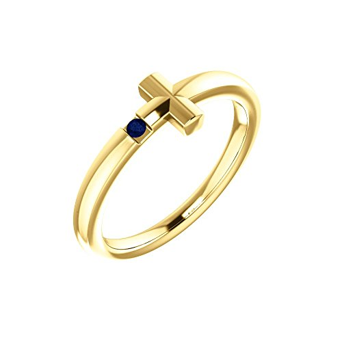 14k Yellow Gold Blue Sapphire Youth Cross Ring - Size 3 by Bonyak Jewelry