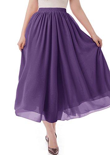 (malishow Women's Long Chiffon Skirt Pleated Retro Beach Skirts A-line Maxi Dress Purple S)