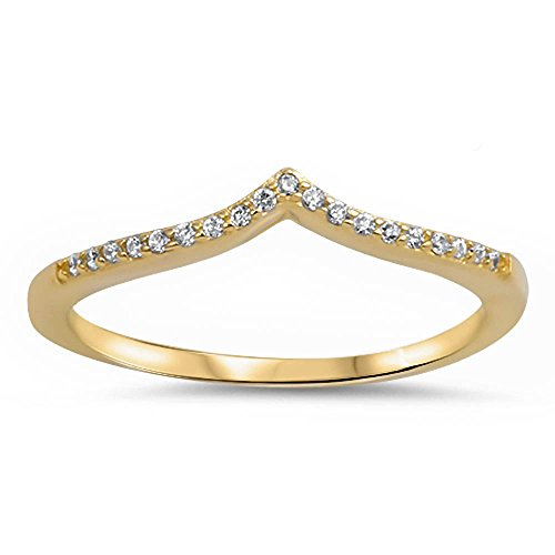 Oxford Diamond Co Yellow Gold Plated V Shape Cubic Zirconia .925 Sterling Silver Ring Size 7