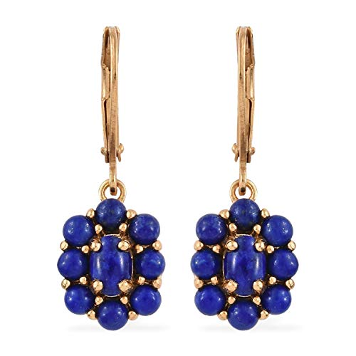 14K Yellow Gold ION Plated Oval Blue Lapis Lazuli Lever Back Flower Dangle Drop Earrings Gift Jewelry for Women