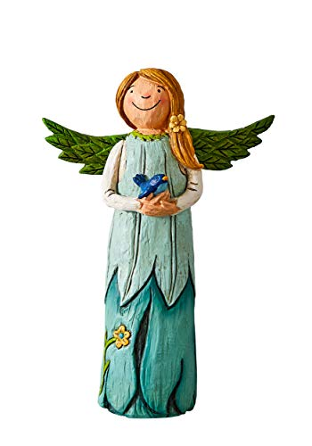 Studio M Wings of Whimsy Bluebird of Happiness Hand-Painted Inspirational Angel Figurine, Decorative Home Décor Sculpture, Beautiful Wood-Carved Look, 5.5 x 8 Inches
