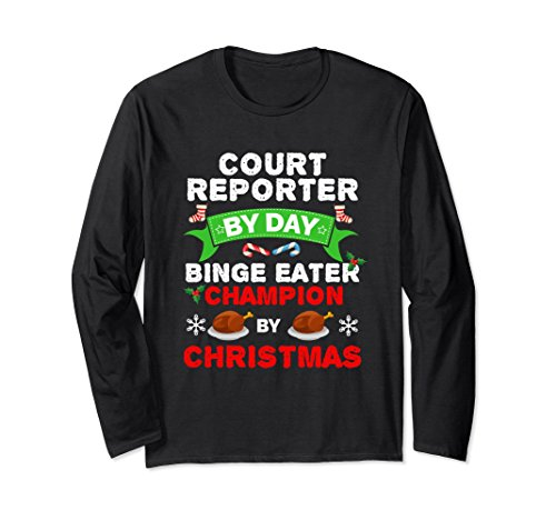 Unisex Court Reporter Binge Eater Long Sleeve Tshirt Food Christmas Medium (Court Gravy)
