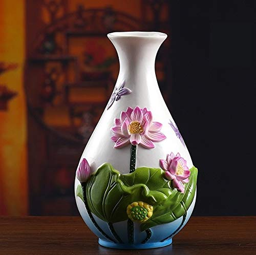 BeesClover Classical Chinese Ceramic Lotus Flower Vase Porcelain Dragonfly Pitcher Gift Craft Ornament for Room Decor and Art Collection - Porcelain Dragonfly Vases