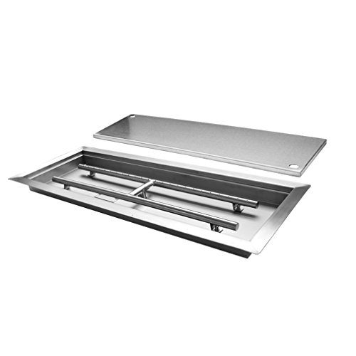 Skyflame Rectangular Stainless Steel Drop-in Fire Pit Pan and Burner with Burner Cover, 24 by 8 Inch Burning - H-shaped Burner