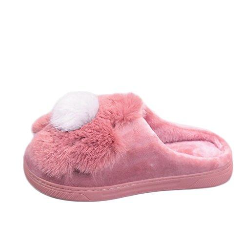 Cybling Winter Pluche Indoor Pantoffels Warm Anti-slip Huis Schoenen Dikke Zool Voor Vrouwen Roze