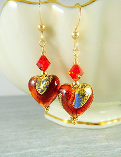 Murano Dangle (Red Gold-Foil Heart Dangle Earrings Murano Glass Crystal Gold-Filled Jewelry)