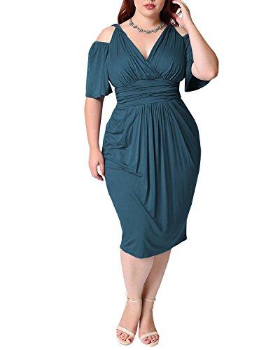 BIUBIU Women's Plus Size Cold Shoulder V Neck Bodycon Bandage Midi Dress Turquoise XL