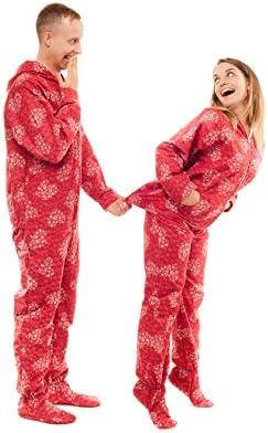 Kajamaz Snowflake Hearts Adult Footed Onesie Pyjamaz 100/% Flannel