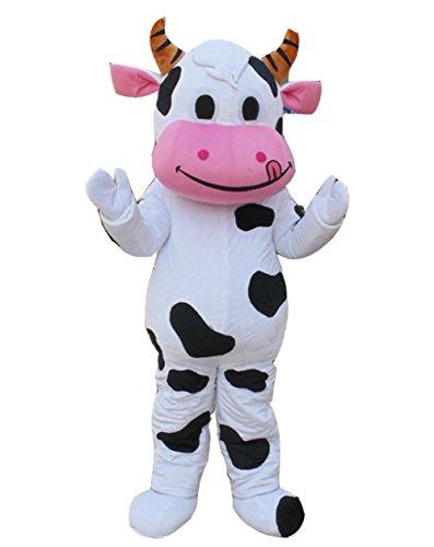 Cow Mascot Costume Cow Costume Cartoon Character Dress (XX-Large, White) ()