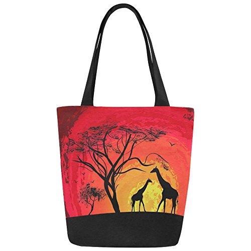 InterestPrint Animal Giraffe under the Tree at Sunset Canvas Tote Bag Shoulder Handbag for Women -
