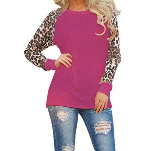 Elegante Shirt donna con maniche maniche Maglietta lunghe T Porpora Donna donna Casual da Leopard Camicia lunghe da a Elecenty qwCEARxx