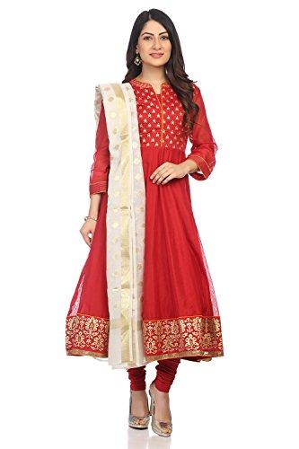 BIBA Women's Red Polyster Salwar Kameez Dupatta Size ()
