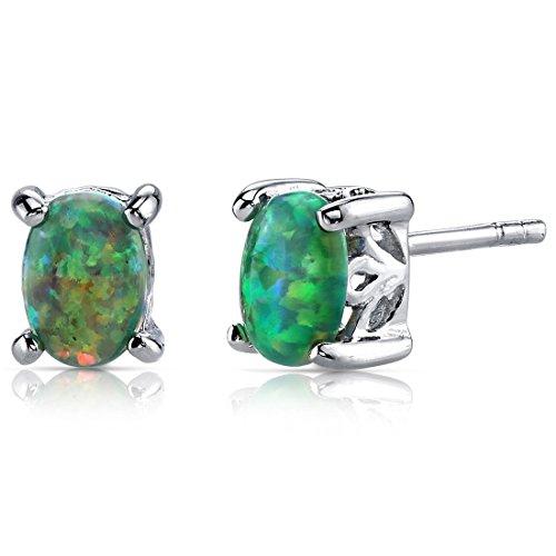 Created Green Opal Stud Earrings Sterling Silver Oval Shape 1.50 (1.50 Carats Oval Shape)