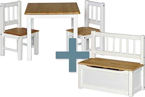 IB-Style - Kindersitzgruppe NOA   3 Kombinationen - 4-er Set: 1x Tisch + 2X  Stühle + 1x Truhenbank - Stuhl Truhenbank Kindermöbel Tisch Kindertisch ...