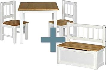IB-Style - Kindersitzgruppe NOA | 3 Kombinationen - 4-er Set: 1x Tisch + 2X  Stühle + 1x Truhenbank - Stuhl Truhenbank Kindermöbel Tisch Kindertisch ...