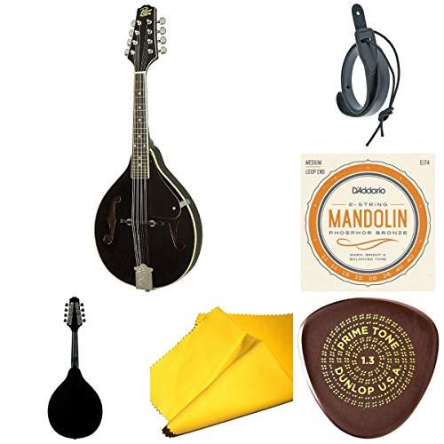 Rogue RM-100A A-Style Mandolin Black Bundle With Planet Waves Mandolin Strap+D'Addario EJ74 Phosphor Bronze Mandolin Strings+Dunlop Primetone Semi-Round Shape with Grip+Polish Cloth-Top Accessory