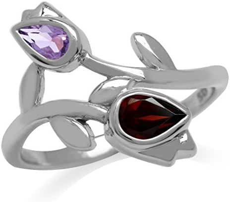 Natural Garnet & Amethyst White Gold Plated 925 Sterling Silver Tulip/Flower Ring