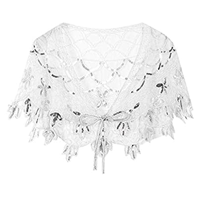 1920s Shawls for Women Sequin Beaded Evening Wraps Cape Wedding Bridal Shawl Gatsby Evening Bolero Flapper Shawls