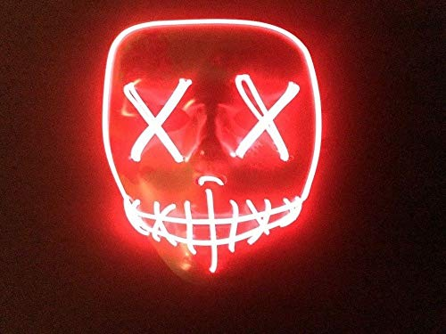 MASQSTUDIO The Purge RED LED Anarchy Purge Men Women Boys Girls Horror Purge Killer Masked Men Halloween Costume Party -
