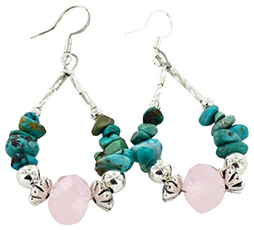 Native-Bay Authentic Made by Charlene Little Navajo Silver Hooks Natural Turquoise Pink Quartz American Earrings