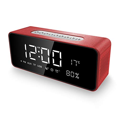 Alarm Clock Radio Bluetooth Speakers for iPhone, iPad/iPod/Android and Tablets, FM Radio Home Stereo, LED Display with Dimmer, Snooze Temperature...