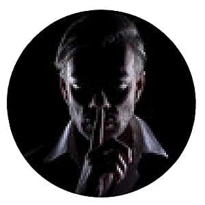 alfombrilla de ratón silueta de los hombres en la oscuridad muestra gesto del silencio - ronda - 20cm