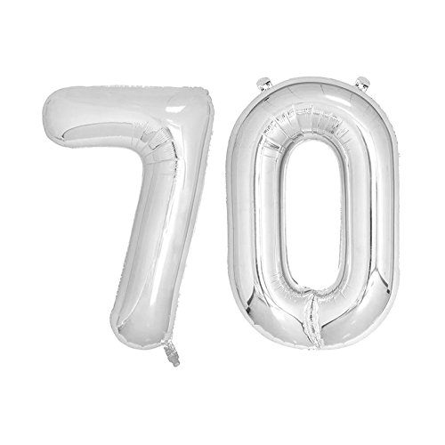40 inch Jumbo Silver Number Balloons for Birthday Party, Anniversary Decoration … (Silver70) ()