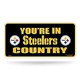 Rico NFL Pittsburgh Steelers Metal Tag License Plate, Black