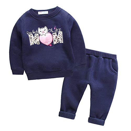 Mud Kingdom Baby Girl Outfits Fleece Cute Pattern 24 Months Like Mom Cat