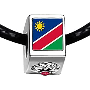 Chicforest Silver Plated Namibia flag Photo Red Zircon Crystal July Birthstone Flower Charm Beads Fit Pandora Chamilia Biagi Charm Bracelet