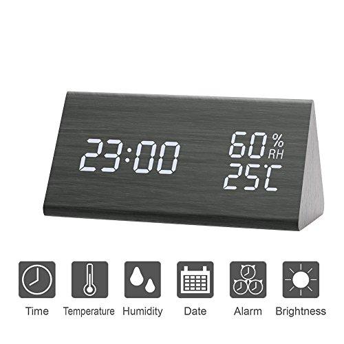 Ocamo USB Charging Wooden Trihedron Digital Alarm Clock with Temperature & Humidity Detect Decoration Gift