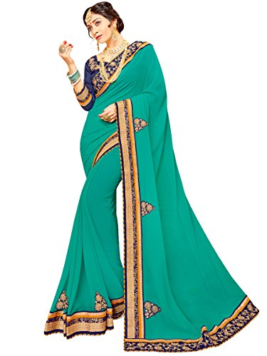 Appealing Saree - Shree Designer Sarees Appealing Light Teal Georgette Saree