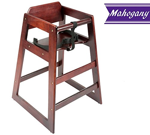 Wooden High Chair, Mahogany Finish Baby High Chair, Unassemb