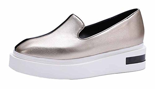 Showhow Womens Comfy Tondo Tondo Basso Slip Slip On Mid Heel Walking Sneakers Fashion Gun