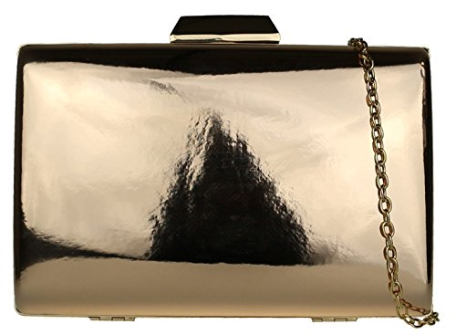 Girly HandBags Glossy Hard Case Clutch Bag Champagne