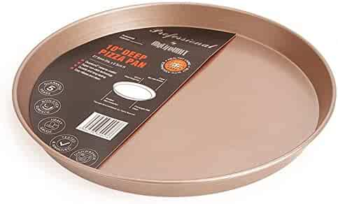 MyLifeUNIT Carbon Steel Non Stick Pizza Pan, 10-Inch, Gold