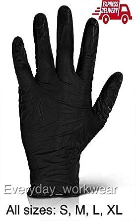 Medium Black Strong Nitrile Gloves Powder Latex Free Mechanic Tattoo Valeting Barber