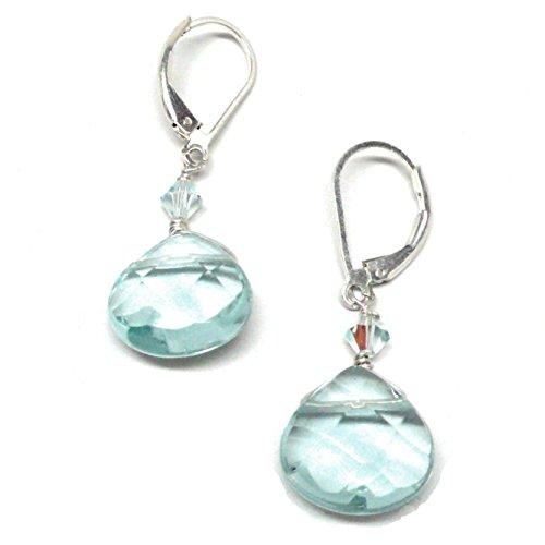 Lab Grown Aqua Quartz 12x12 Briolette Sterling Silver Lever Back Earrings Swarovski Crystal Custom