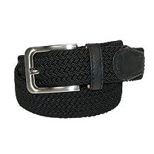 CTM Mens Elastic Silver Buckle Braided Stretch Belt, XL, Black