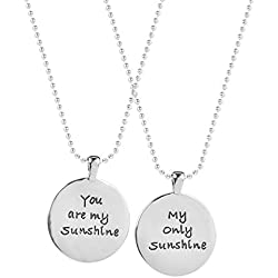 Lux Accessories Best Friends BFF Forever You Are My Sunshine Necklaces. (2 PC)