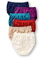 Fruit of the Loom Women's 6 Pack Nylon Brief Panties, Assorted