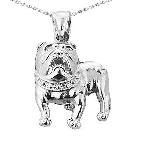 (10k White Gold Bulldog Charm Pendant Necklace with 20