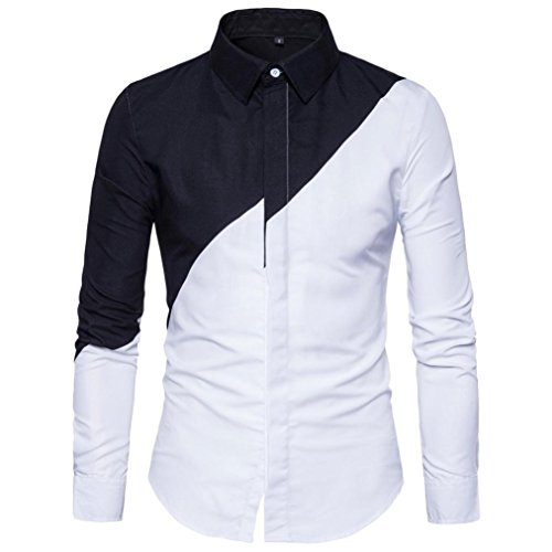 JOFOW Men's Casual Long Sleeve Shirts Cotton Block Patchwork Fit Oxford Blouses Tops -