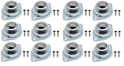 YXQ 1'' Ball Transfer Unit Bearing 66Lb Casters Roller Round Universal Wheel Flange Mounted w Screws(12Pcs) -